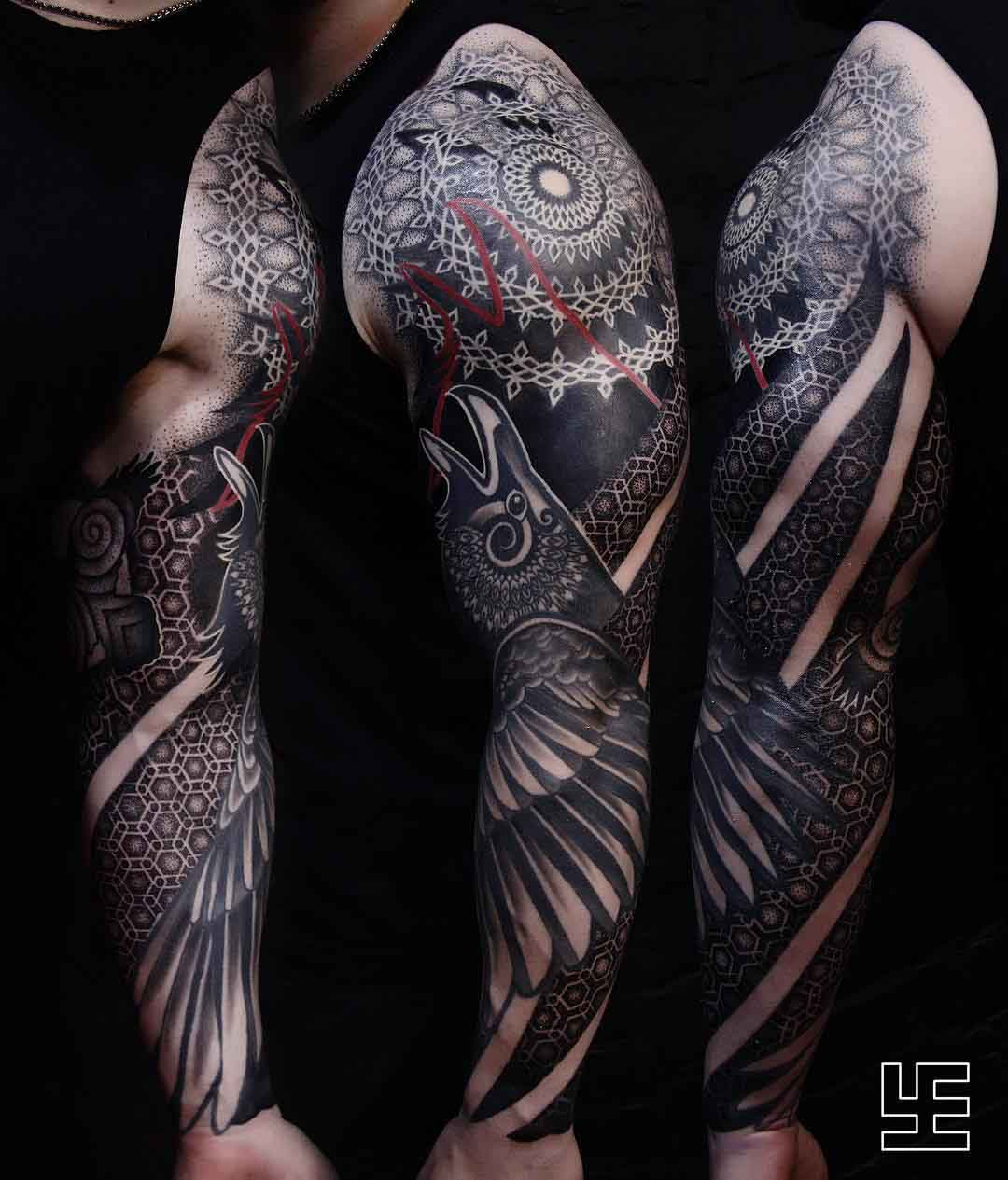 tattoo sleeve ornament raven
