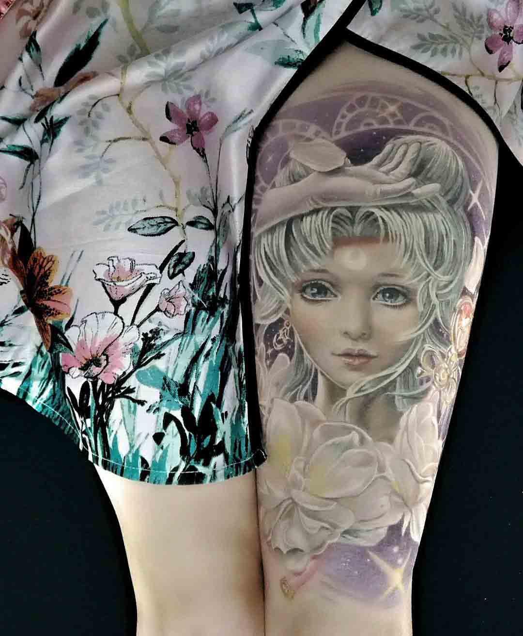 sailormoon tattoo on thigh