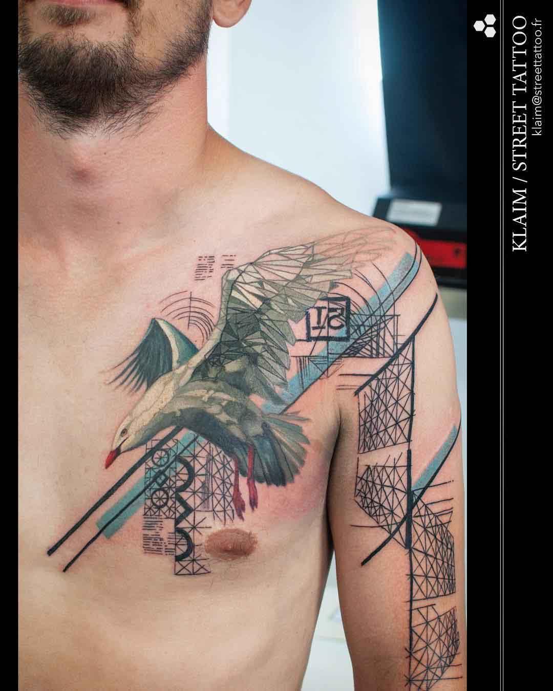 chest tattoo seagull