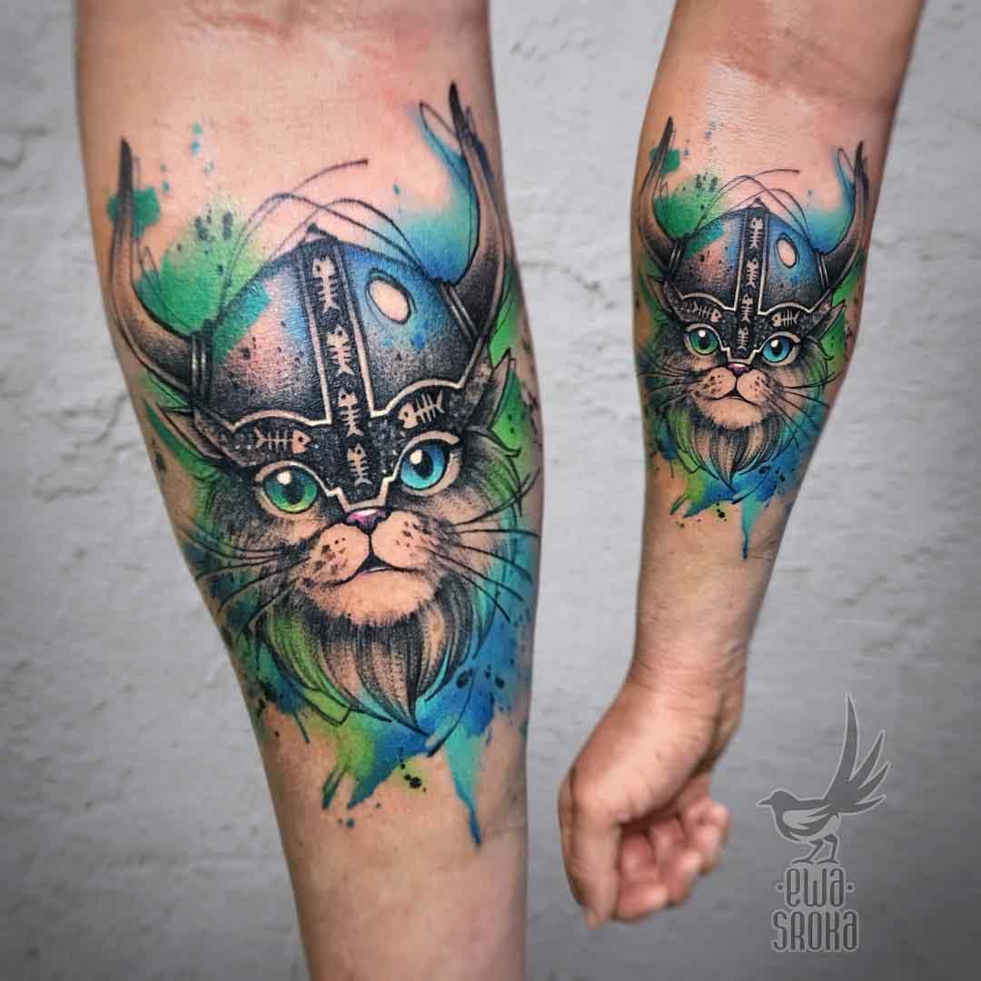 watercolor cat tattoo viking