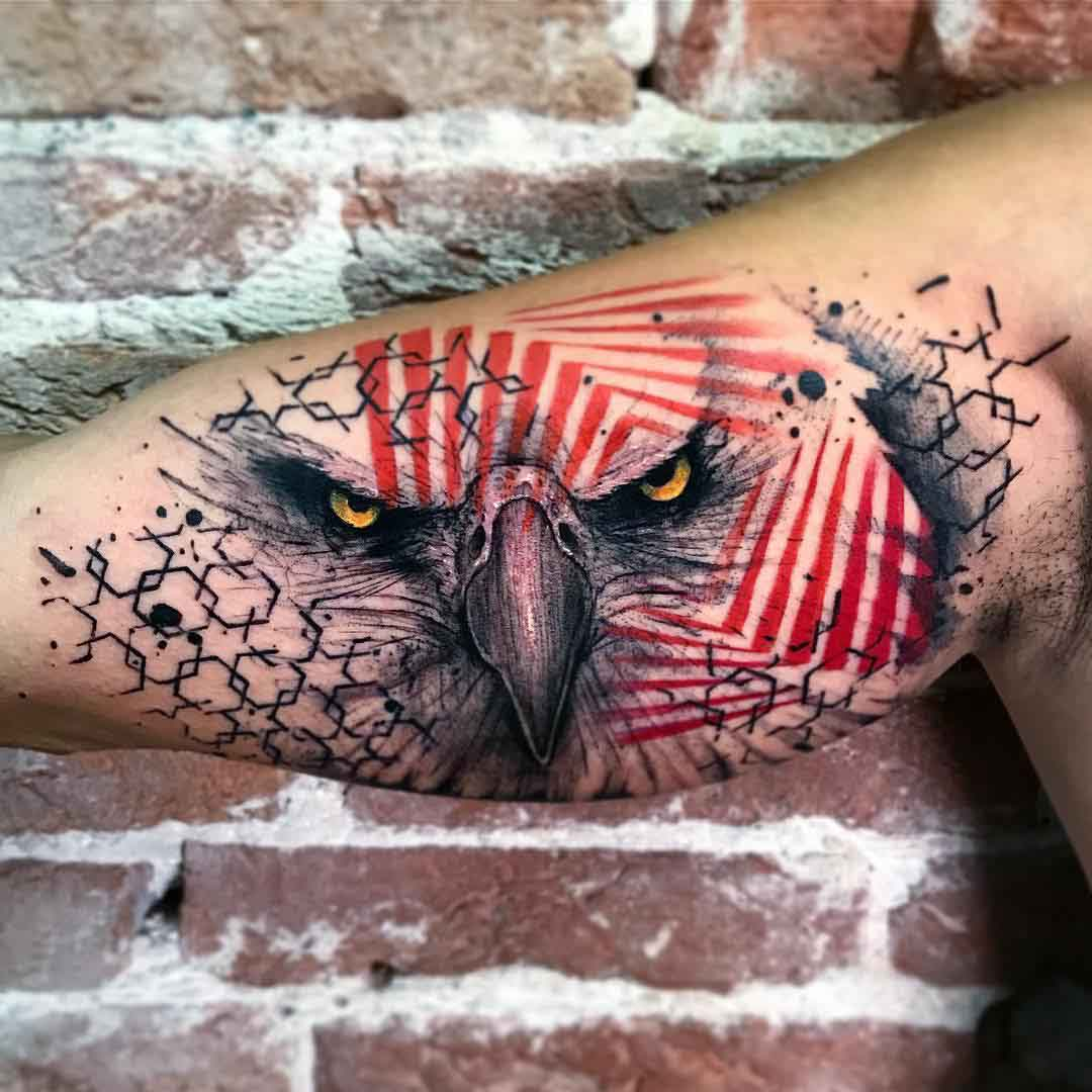 eagle tattoo on inner bicep