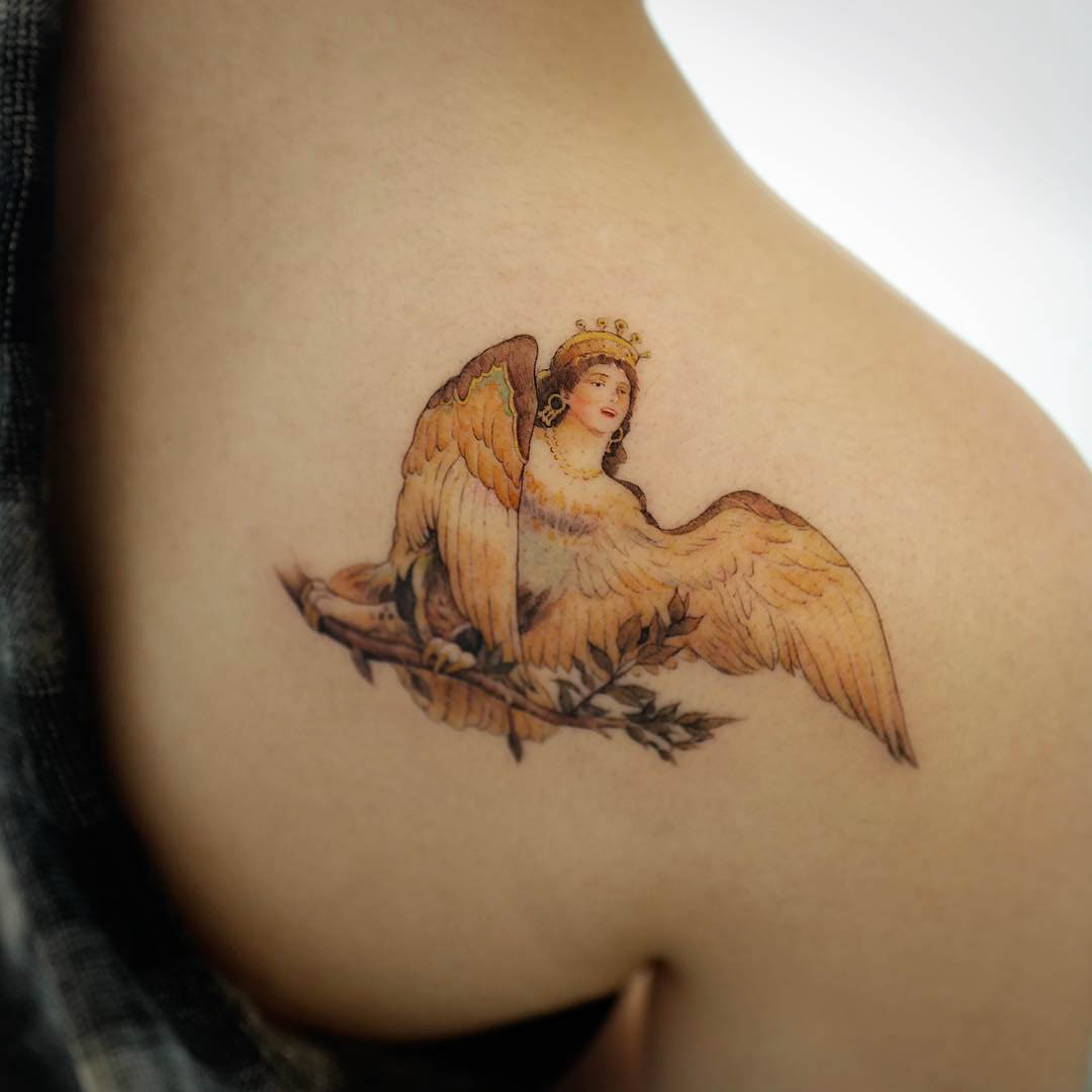 shoulder tattoo bird of joy