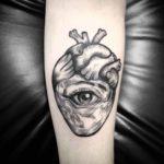 Etching Eye Heart Tattoo