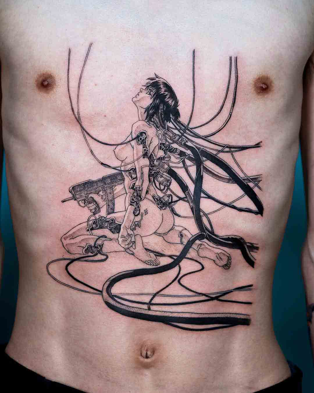 stomach tattoo ghost in shell anime