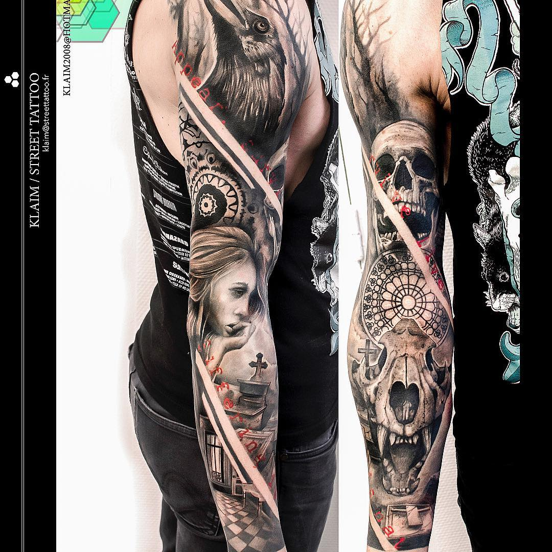 sad gothic tattoo sleeve