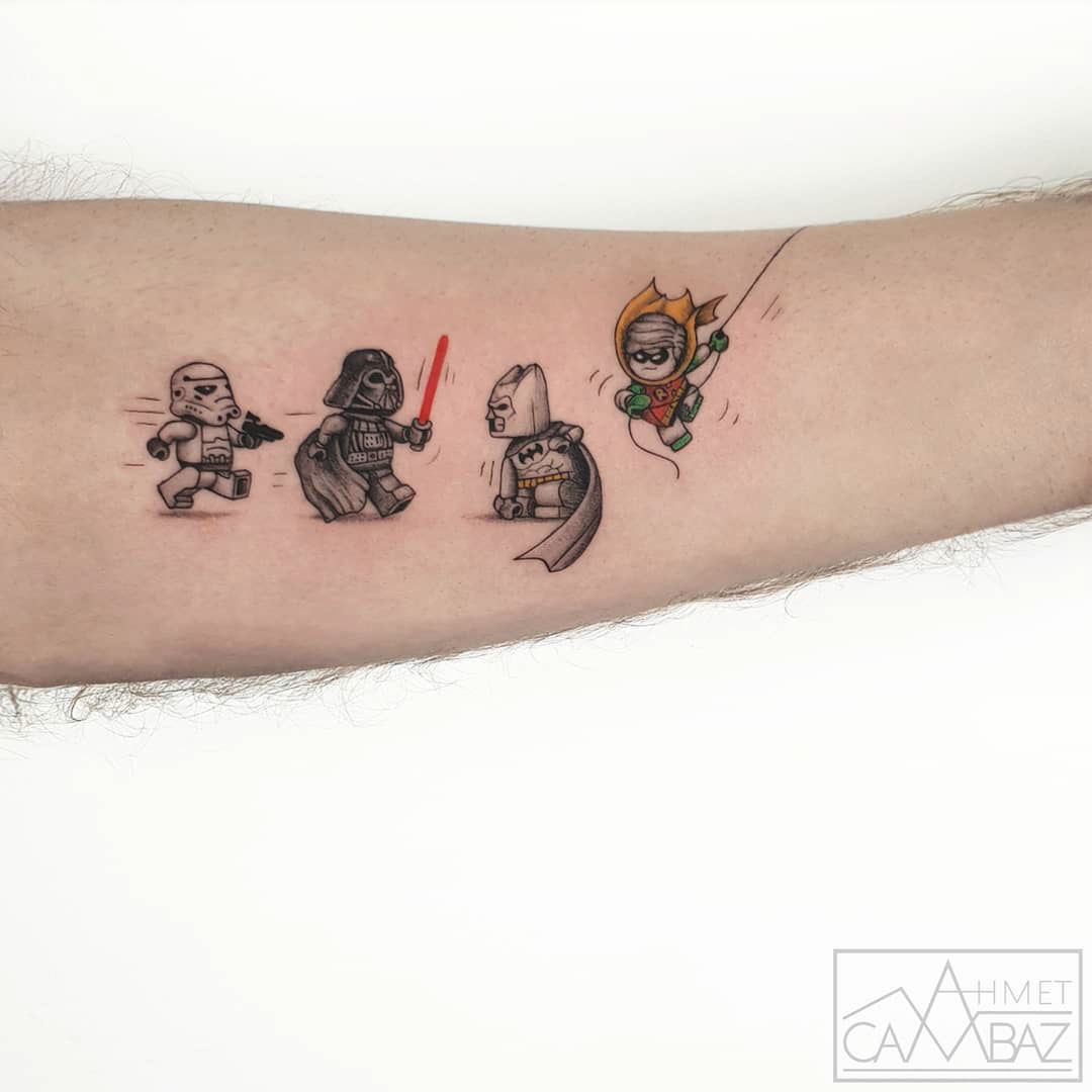 small lego tattoos on arm