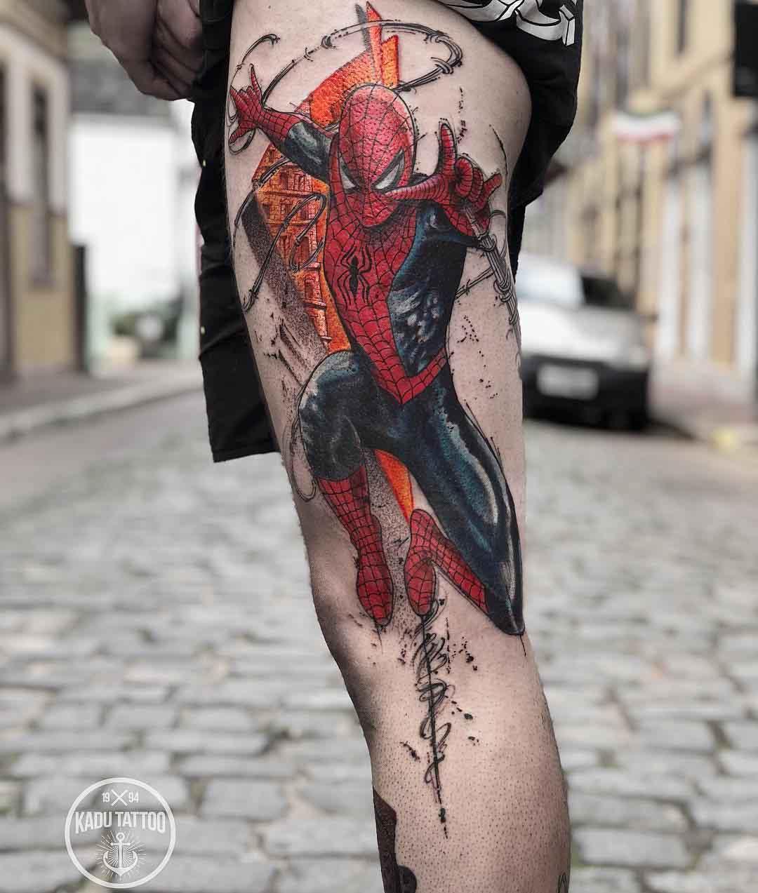 thigh tattoo spiderman