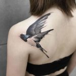 Swallow Tattoo on Shoulder Blade