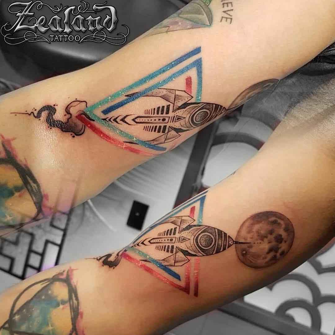 rocket ship tattoo vintage