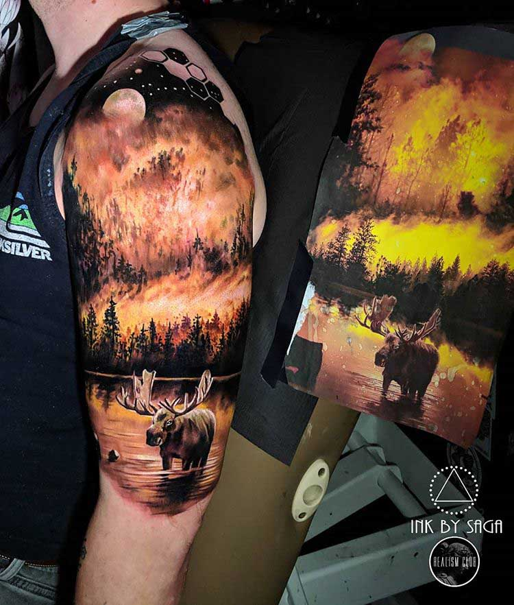 shoulder tattoo forest fire