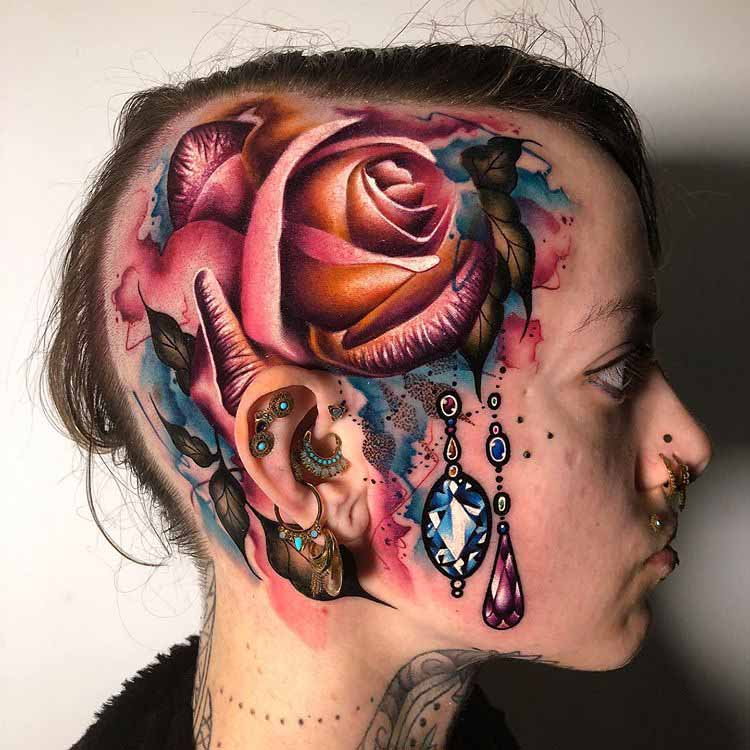 head tattoo rose an gems