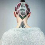 Leaves Tattoo on Head by rit.kit.tattoo