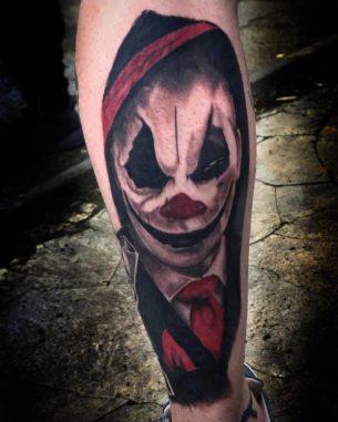 Tattoo of Clown on Calf
